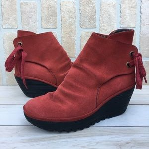 Fly London Yama Red Suede Booties 41 - 10 10.5